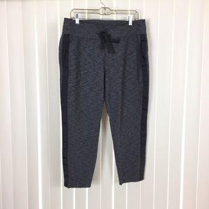 Athleta Dark Gray Cropped Tuxedo Stripe Sweat Pant